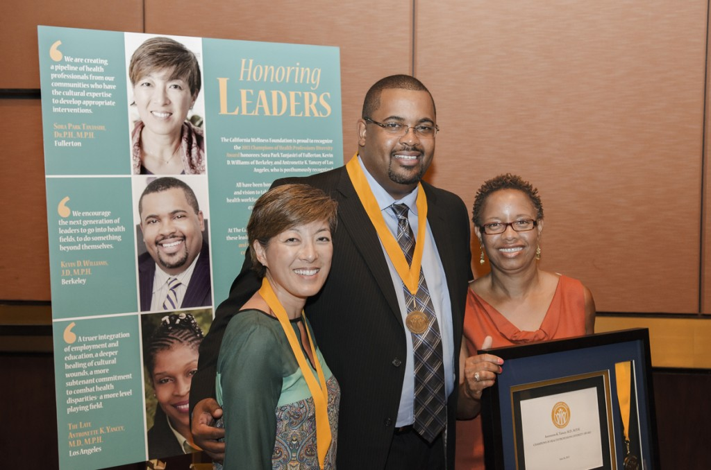 Pictured here (left to right) are honoree Sora Park Tanjasiri; honoree Kevin D. Williams and honoree Antronette Yancey's long term partner Darlene Edgley