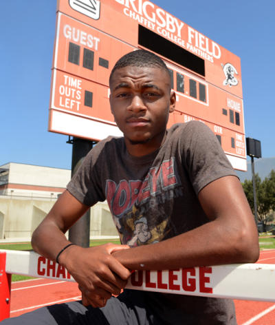 Chaffey College hurdler Khallifah Rosser won the 400-meter hurdles at the California Community College Athletic Association championship meet last month and will compete in the United States Junior National meet on June 19-23. (Jennifer Cappuccio Maher / Staff Photographer)
