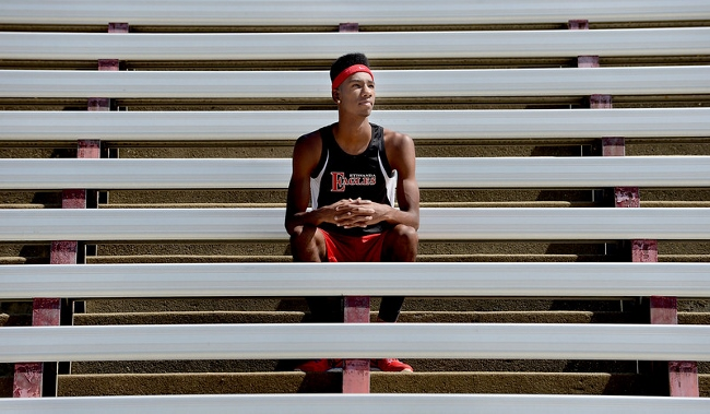 Miles Parish, of Etiwanda High School, has been named Athlete of the Year for the Inland Valley Daily Bulletin's All-Area track team. (Jennifer Cappuccio Maher / Staff Photographer)