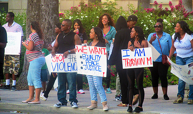 San Bernardino Trayvon Martin Verdict Protest Starts Outside of The SB Court.