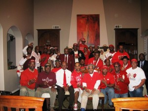 The members of Riverside Alumni Chapter celebrate Founders Day at Clayton home.