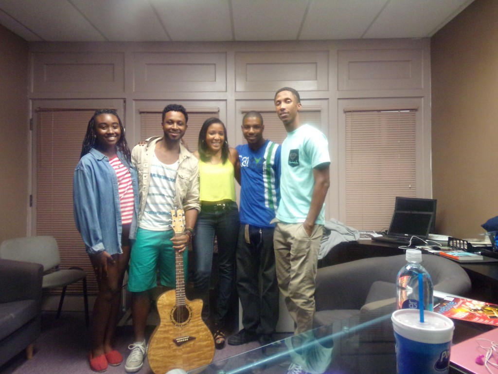 From left to right: WSS intern Noelle Lilley; rising musician Philip Michael Jr.; WSS editor Naomi Bonman; WSS intern Mitchell Young; and WSS intern Ernest Carter