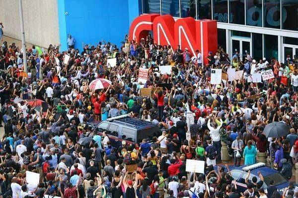 Atlanta protests held Monday, August 18 in front of the CNN Center