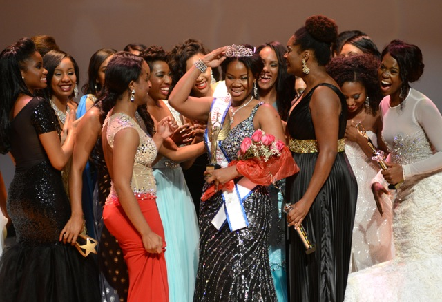Contestants and runners up gather to congratulate Jasmine Alexander, Miss Black USA 2014.  PHOTO CREDIT: Nicole L. Cvetnic/The Root