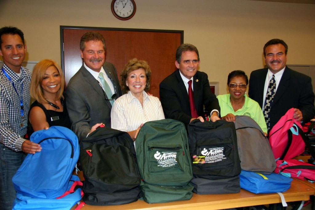 Photo caption: Pictured (L to R) is San Bernardino County Librarian Leonard Hernández; Executive Director Linda Jackson, NID Housing Agency; San Bernardino Mayor Carey Davis; Assemblymember Brown; and San Bernardino County Deputy Superintendent Ted Alejandre.