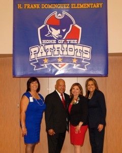 "Dominguez & Vanir Leadership"" - (left to right): -- Ms. Terri Anderson-Cardinal, Program Facilitator, H. Frank Dominguez Elementary School -- Mr. Alejandro Hernandez, Principal, H. Frank Dominguez Elementary School -- Ms. Dorene Dominguez, Chairman, Vanir Foundation -- Ms. Adrienne Cisneros-Selekman, President, Vanir Foundation"