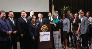 San Bernardino County School Board District Members  and Assemblymember Cheryl R. Brown gather for a group shot during the Grad Summit ceremony on Saturday, November 15. (Photo credit: Angela M. Coggs)