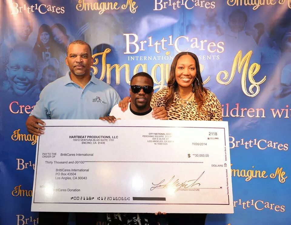 Founders of BrittCares Jamie and Shirell Henderson and Comedian and Actor Kevin Hart
