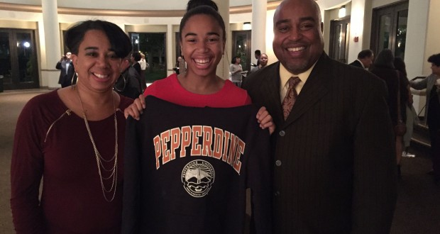 King High School senior Brooke Tolson with her parents Andamo and Gayla at the Posse Foundation awards event.