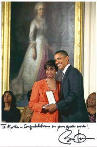 Myrtle Faye Rumph with President Barack Obama at the Presidential Citizens Medal awards ceremony at the White House in 2010.