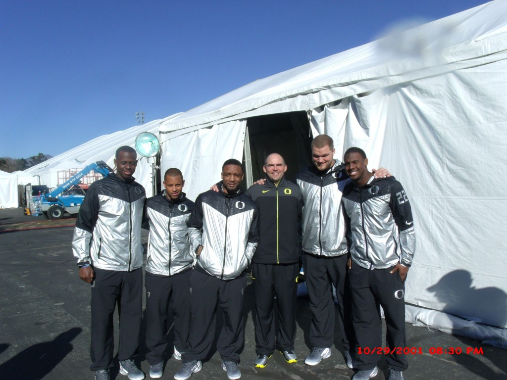 Rose Bowl champions Oregon Ducks  (L-R) Tony Washington, Keanon Lowe, Erick Dargan,  Head Coach  Mark Helfrich  Jake Fisher, Derrick Malone