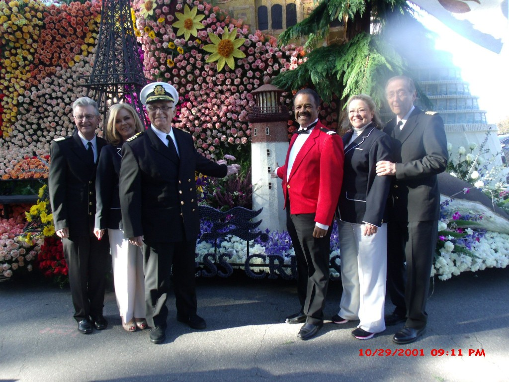 Love Boat cast in front of Princess Cruises Float  (L to R)  Fred Grandy (Chief Purser Gopher),Lauren Tewes (Cruise Director Julie),Gavin MacLeod (Captain Stubing),Ted Lange (Bartender Isaac) Jill Whelan (Captain's daughter Vicki), Bernie Kopell (Doc),