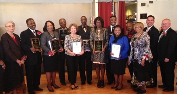 (left to right) Hattie Inge, President of Rialto Black History Committee; Myron Hester Sr., Master of Ceremonies; Joanne Gilbert, Community Service Award Recipient; Elvis Brown, Minister; Sup. Gonzales, Dr. Joel McCloud, Chancellor; Valerie Singleton, Psalmist; Pastor Chuck Singleton, Community Service Award recipient; Assemblymember Cheryl Brown; Congressman Pete Aguilar; and Mike Story, City of Rialto Administrator at Rialto Black History Committee, Inc. 30th Annual Dr. MLK Luncheon.