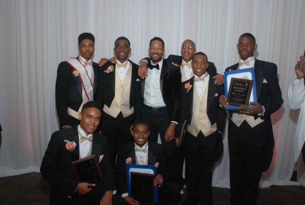 Back Row Left to Right: Sir Knight 2015 Mr. Khari Bush, Brandon Watts , Dr. Wil Greer (Keynote Speaker), Anthony Montgomery, Arlington Rogers III (2nd), Myles Jones Front Row Left to Right: DeVon Clay and Sir Davis (1st)