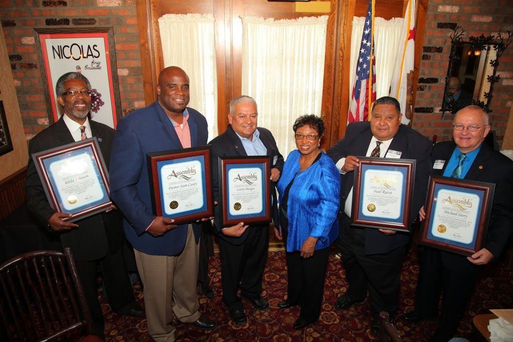 Assemblymember Cheryl R. Brown (D-San Bernardino) hosted her annual Men of Distinction program on Friday, June 26, in Fontana. During the event, six outstanding men were recognized for their dedication to activism and community leadership. The 2015 Men of Distinction include (L to R): San Bernardino City Councilman Rikke Van Johnson, 6th Ward; Pastor Samuel J. Casey, New Life Christian Church; Larry Burgos, a lifetime community advocate based in Bloomington; Paul Rasso, Colton Parks and Recreation Commission; Rialto City Administrator Michael Story; and James McNaboe, a community volunteer and veterans advocate (not pictured).