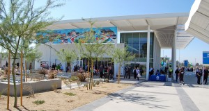 "The San Bernardino Transit Center is a LEED Gold designed facility which includes drought tolerant landscaping and public art. The mural banner, ""Exploration"" by Louie Solano, hangs from the north side of the building."