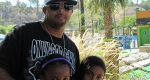 "Victorville rapper, Justified, with his two daughters at ""Daughters Lives Matter""."