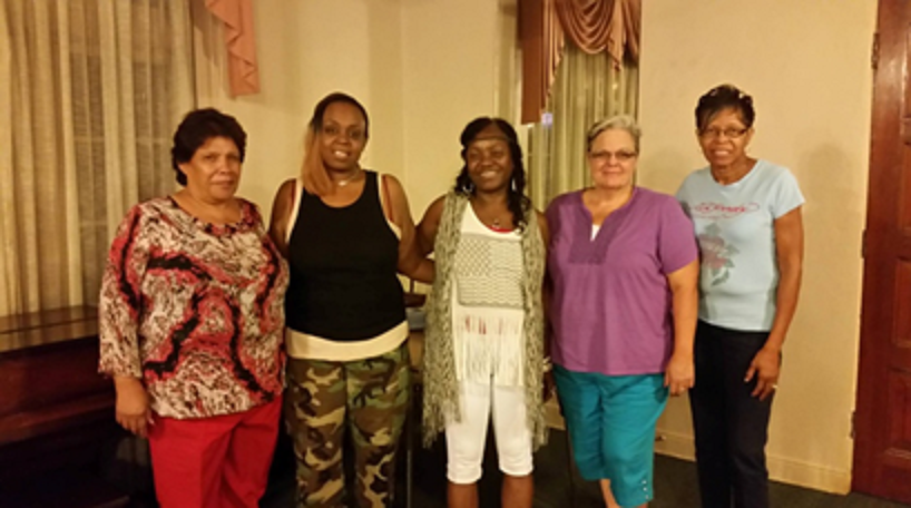 (L. Ofelia Gallegos, Francine Gatewood, Celeste Clemons, Lori McCarver, Brenda Daniels)