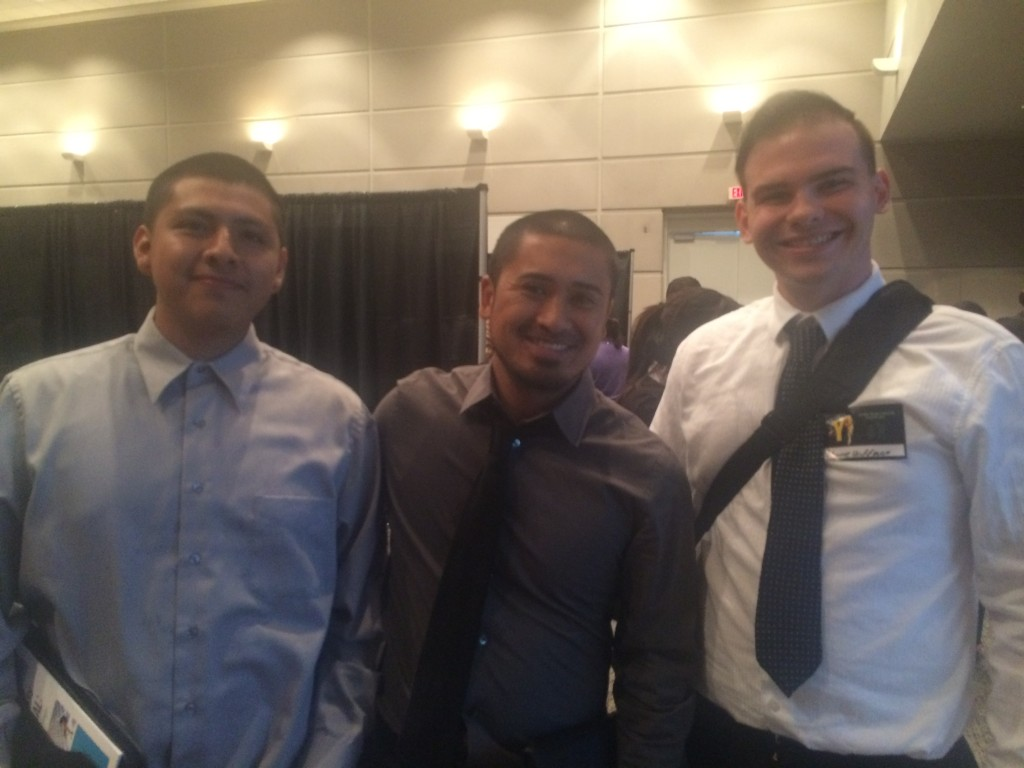 Over 600 youth who participate in San Bernardino County Workforce Investment Board's youth programs throughout the county came together for a day of networking, listening to motivational speakers and attending career workshops on Friday, Nov. 20 at the Ontario Convention Center.  Pictured from left are Carlos Vasquez, 17, Academic Coach Ivan Lumba, and Shane Hoffman, 23, of Operation New Hope.
