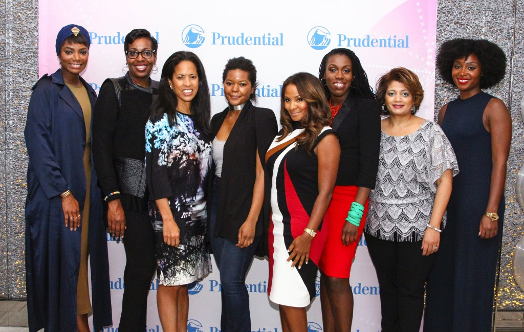 "(from left to right): Tai Beauchamp, TV Personality & Lifestyle Expert; Alicia Alston, Vice-President, Global Communications at Prudential Financial; Michelle Ebanks, ESSENCE President; Dani Arps, Interior Designer; Marvet Britto, President and CEO of the Britto Agency; Tiffany ""The Budgetnista"" Aliche; Dorinda Walker, Director of Consumer Strategy & Key Initiatives Multicultural Marketing, Prudential's U.S. Businesses; ESSENCE Features Editor Lauren Williams. (Photo, Matthew C. Anderson)"