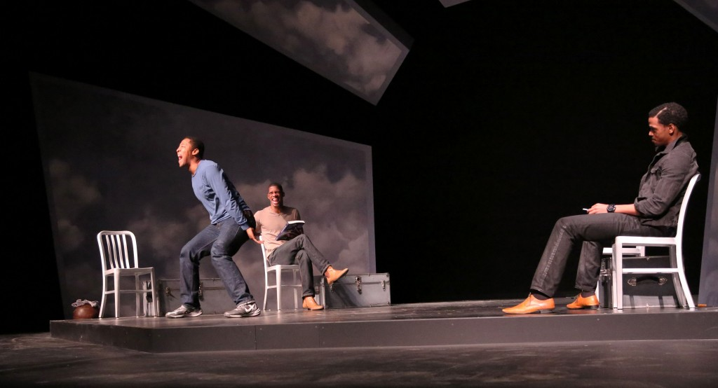 "(L-R) Terrell Wheeler, Damian Thompson and Brooks Brantly rehearse a scene in ""FLY."""