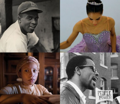 Top left: Jackie Robinson, Courtesy of Hulton Archive Getty Images; Top right: Misty Copeland, Courtesy of Urban Romances, Inc; Bottom left: MERCY STREET's Aurelia Johnson (Shalita Grant), Courtesy of Antony Platt/PBS; Bottom right: THE BLACK PANTHERS Eldridge Cleaver, Berkeley, Courtesy of Jeffrey Blankfort