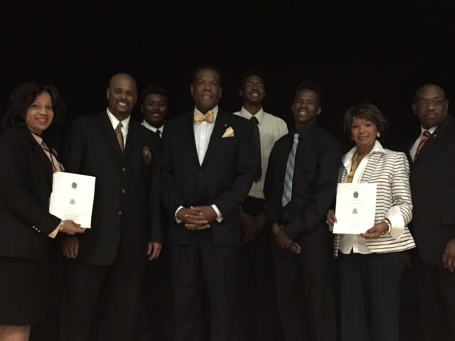 L/R: Twillea Evans-Carthen (Social Lites Beautillion Committee Member), Kevin Eastman, Joseph Phillips (Actor and member of Alpha Phi Alpha Fraternity, Inc.), Elijah Preston Little, Edna Wade (Social Lites Beautillion Chairperson), William Jernigan; Second Row: Conlan Baker and Royce T. Rodgers