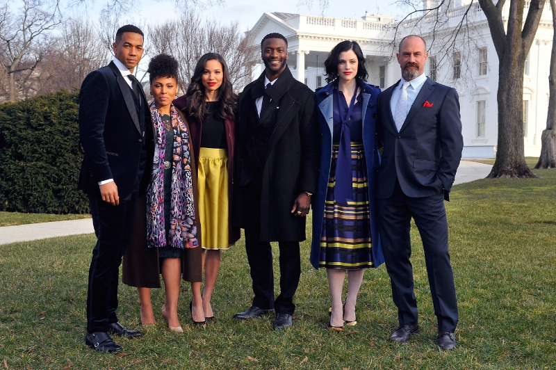 "The cast of ""Underground"" gather for a photo outside of the White House. Pictured left to right: Alano Miller, Amirah Vann, Jurnee Smollett-Bell, Aldis Hodge, Jessica de Gouw, Christopher Meloni (PRNewsFoto/WGN America)"