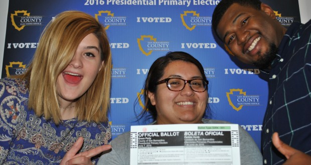 Pictured from left to right, Elections Office staff members-Ashleigh Bachar, Roxana Castro, and Travis Weaver