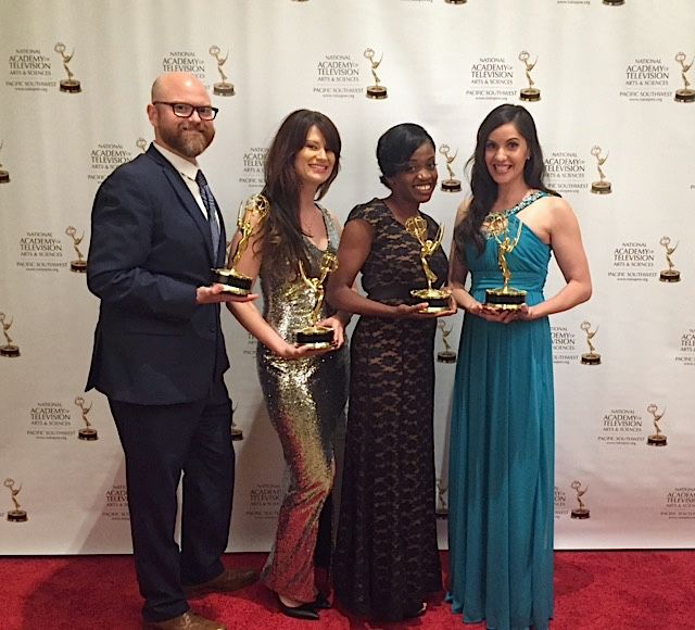 Loma Linda University Health advancement films pose with their new trophies after the 42nd Annual Pacific Southwest Emmy Awards over the weekend in Rancho Mirage. From left: Michael Wolcott, Maranatha Hay, Keturah Reed and Patricia Kelikani.