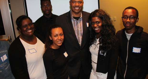 Dr. Rogers and Dr. Fenison with several J W Vines Medical Society student-interns.. Photo by John Coleman