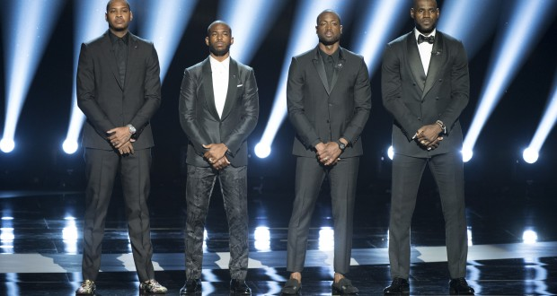 "THE 2016 ESPYS - Theatre - On July 13, some of the world's premier athletes and biggest stars join host John Cena on stage for ""The 2016 ESPYS Presented by Capital One."" The 24th annual celebration of the best moments from the year in sports will be televised live from the Microsoft Theater on Wednesday, July 13 (8:00-11:00 p.m. EDT), on ABC. (ABC/Image Group LA) CARMELO ANTHONY, DWYANE WADE, CHRIS PAUL, LEBRON JAMES"