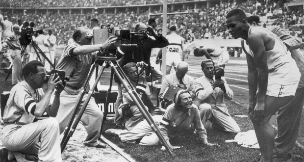 14 Aug 1936, Berlin, Germany --- Leni Riefenstahl Filming Archie Williams --- Image by © Bettmann/CORBIS