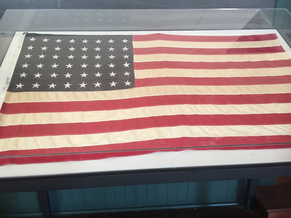 Schoolhouse Flag- This old flag only has 48 stars on it.