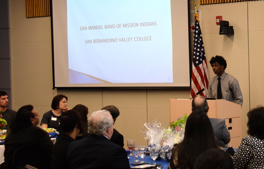 Current Valley-Bound student Devale Haywood speaks during the Valley-Bound Luncheon on March 10.
