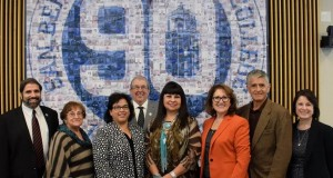 (From left to right): Chancellor Bruce Baron, SBCCD; Trustee Donna Ferracone, SBCCD; President Diana Z. Rodriguez, SBVC; Board President Rich Beemer, SBVC Foundation; Chairwoman Lynn Valbuena, San Manuel; California Assemblymember Eloise Gómez Reyes; Trustee Frank Reyes, SBCCD; Director of Development & Community Relations Karen Childers, SBVC.