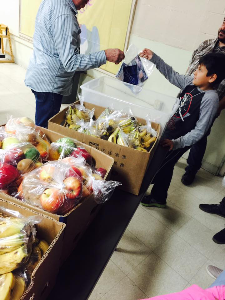 Volunteers also helped Mary's Mercy Center give out food, along with care packets that included toiletries, batteries, and other items.