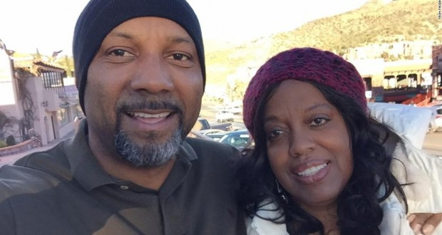 A photo from Cedric Anderson's Facebook page shows him and Karen Smith together. The two were estranged at the time of Monday's shooting, police said.