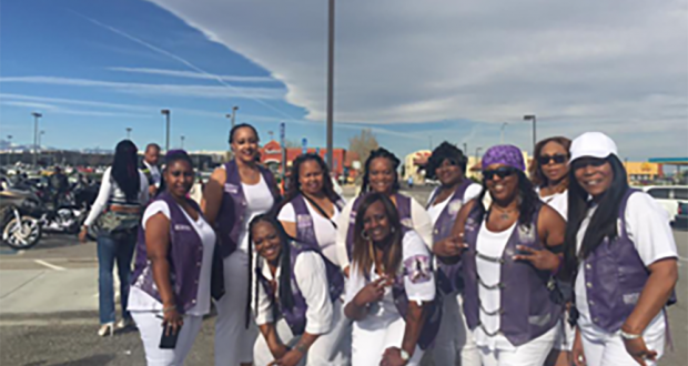 The Free Style Lady Riderz and Ladies in Victorville, California getting ready for the High Desert Unity Run.