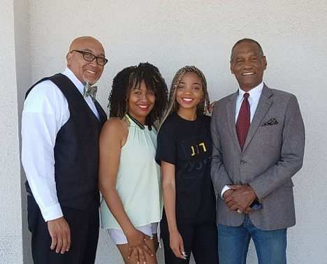 "(from left to right) CEO of Black Business Expo, Jerry Green; President of the Black Chamber of Commerce Inland Empire, Tammy Martin-Ryles; Black is Lit Founder, Winter Minisee; and Host of ""Empire Talks Back"", Wallace."