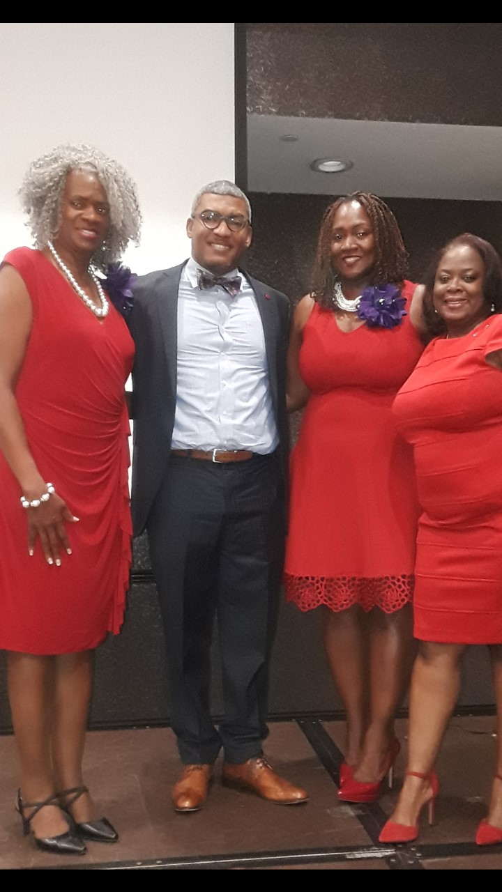Julie Wilson (San Bernardino Riverside Area Alumnae Chapter President), Keynote Speaker Bishop Johnny R. Withers, Jr., Charlotte Wither (San Bernardino Riverside Area Alumnae Chapter Member) , and Rafaela King, (1st Vice President/Membership Chair)