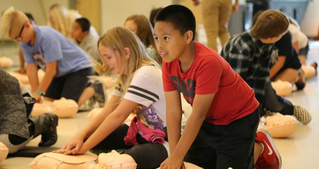 Steven Ibarra, 10, a fifth-grade student at Chapman Heights Elementary participated in the CPR training on Thursday, October 26.
