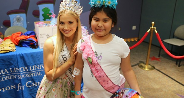 Miss Los Angeles County, Katie Bozner, poses with LLUCH princess, Marisol Delgado of Rialto after being crowned.
