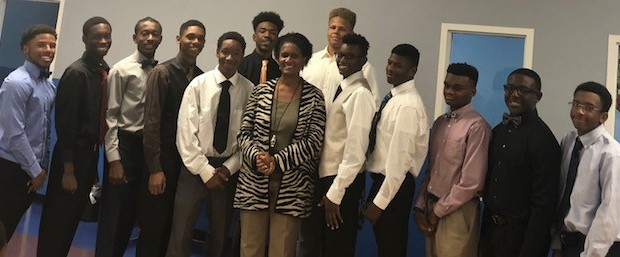 Front L/R: Cameron Ward, Ahmad Revis, Malachi Davis, Terence Bradshaw, Avion Long-Goodman (Knights President), Mrs. Marlene Davis, Devin Clay (Knights Vice President), Johnny Green, Nathaniel Mitchell, Kamau Osonduagwuike, Darell Thompson  Back L/R: Tyree Walk and Kedar Smith