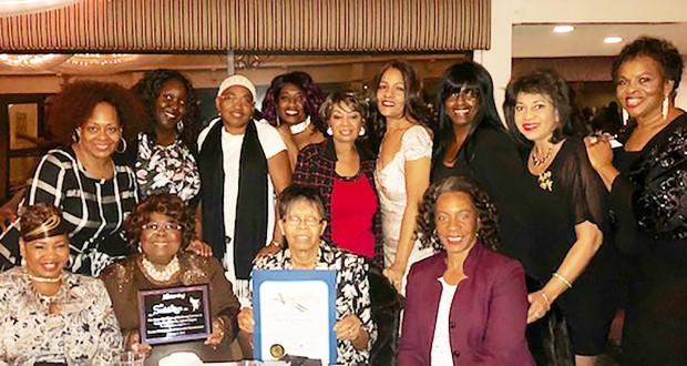 Front Row (left to right): Donna Little-James, Joyce Smith (President, Social Lites, Inc.), Brenda Daniels, and Lisa Blacksher. Back Row (left to right): Yolanda Davis-Smith; Christina Ferguson, Elsie Paulino, Gwendolyn Rodgers (President, Young Women's Empowerment Foundation), Edith Tillie Wade, Lisa Davis, Tina Bridges and Twillea Evans-Carthen, Helen Jones.