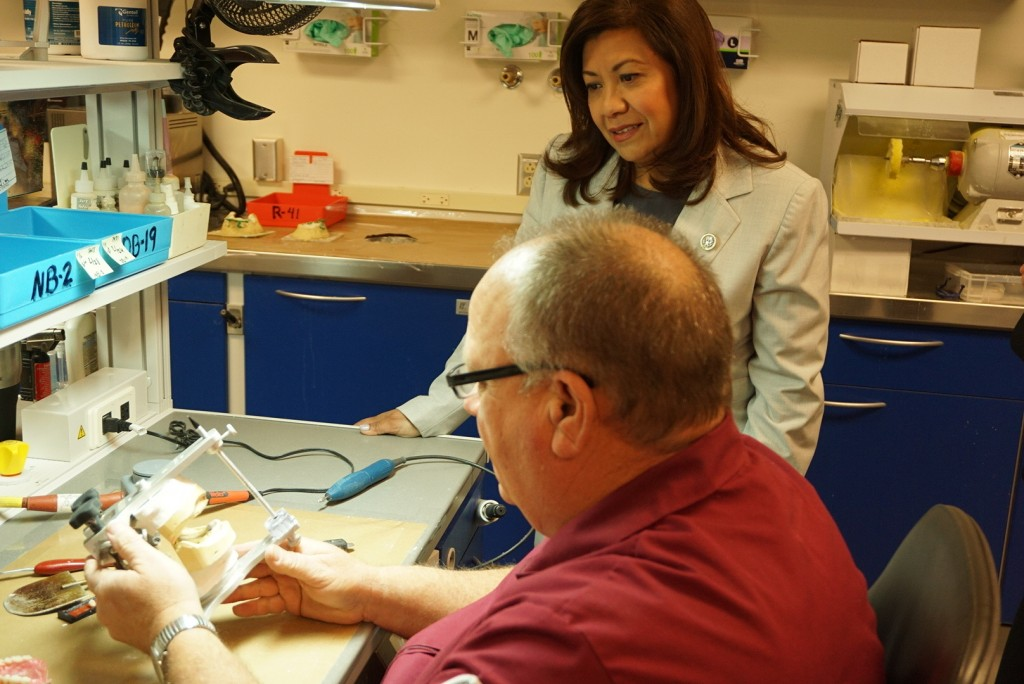U.S. Representative Norma J. Torres views a project underway at the VA Loma Linda Healthcare System.