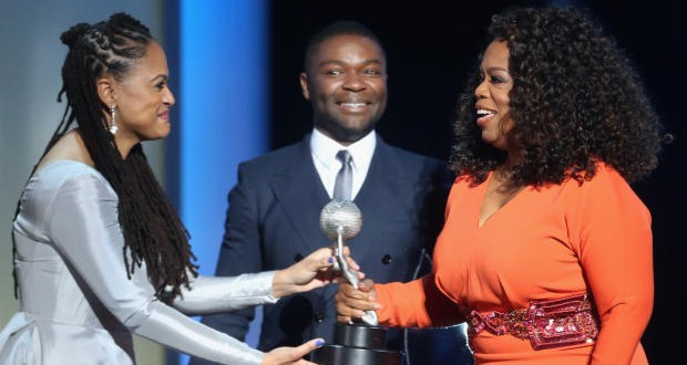 PASADENA, CA - FEBRUARY 06:  (L-R) Director/producer Ava DuVernay, actor David Oyelowo and actress/producer Oprah Winfrey accept the award for Outstanding Motion Picture for 'Selma', onstage during the 46th NAACP Image Awards presented by TV One at Pasadena Civic Auditorium on February 6, 2015 in Pasadena, California.  (Photo by Frederick M. Brown/Getty Images for NAACP Image Awards)